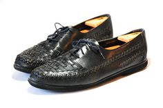 Black Woven Casual Lace up Huarache Oxfords Mens US by Ramenzombie, $40.00