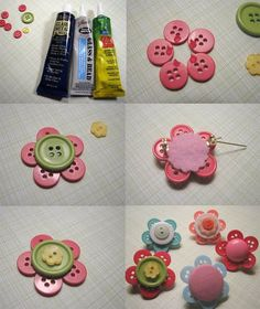 Button Flower Tutorial from Artsy-Crafty Babe The key to making these is the glue. The three pictured above are some that I've used with success. What did NOT work was hot glue, craft glue, and E6000. Make sure the glue you use is meant for beads, glass, & plastics. | craft-trade.org