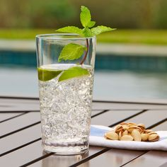 Seville Plastic Water Glass | This durable, plastic glass gets a stylish touch from the bubble effect used around the base.