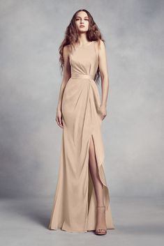 b43552e9f5f Charmeuse and Chiffon Bridesmaid Dress with Ruffle Style VW360340