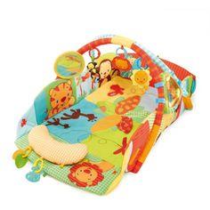 OXYBUL Avec ses 5 façons de jouer l'aire d'éveil s'adapte à la croissance de votre enfant. Elle comprend des effets de lumière et musique, 8 jouets très amusants peuvent être positionnés autour du tapis ou bien sur les arches. Pratique, l'aire d'éveil musicale se transforme en vaste tapis de jeu en la disposant à plat. Bébé peut ainsi découvrir des activités ludiques à plat ventre, assis ou en rampant.