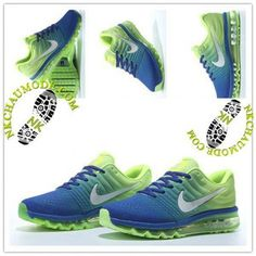 sports shoes a6654 7220c Mode   Nike Chaussure Sport Air Max 2017 Homme Cushion Fly Line Bleu Saphir  Vert Fluorescent