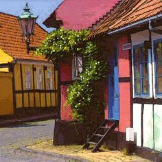 'Altstadt-Ecke in Rönne-Bornholm' von Dirk h. Wendt bei artflakes.com als Poster oder Kunstdruck $18.03