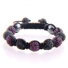 Purple Black Bead Shamballa Bracelet