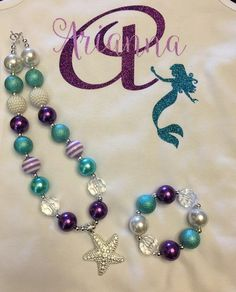 Birthday Little Mermaid Birthday Outfit, Under The Sea Outfit Mermaid Birthday Outfit, Mermaid Outfit, Little Mermaid Birthday, Little Mermaid Parties, The Little Mermaid, Mermaid Party Favors, Mermaid Gifts, Chunky Bead Necklaces, Chunky Beads