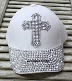 7c1ce0fb6876 White Baseball Cap with Bling Crystal Cross $19.95 www.gugonline.com. Giddy  Up Glamour