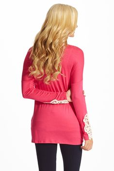 38ee4ac7449 Pink Crochet Accent Sleeve Maternity Top