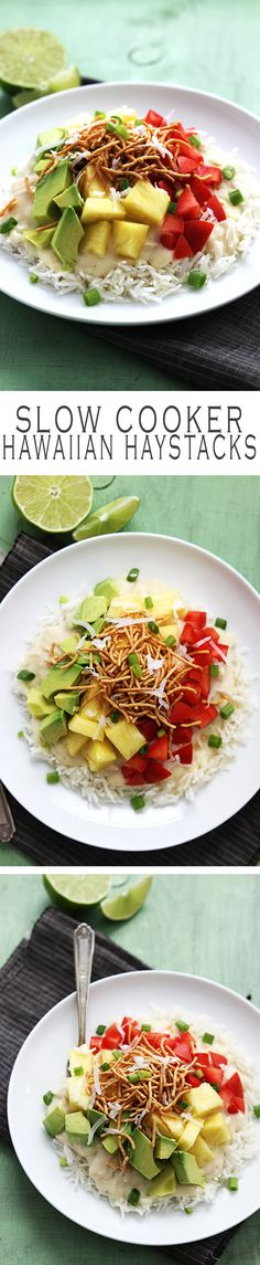 Hawaiian haystacks are a family favorite. This crockpot version is easy, healthy, and completely customizable with all of your favorite toppings!
