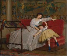 Gustave Léonard de Jonghe -1829 -1893- Mother with her young daughter