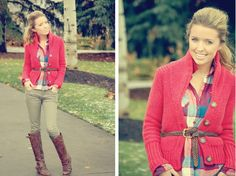 red sweater and plaid shirt
