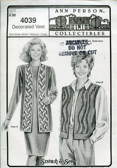 Ann Person Collectibles Stretch & Sew Women's Pattern 4039 ~ Decorated Vest ~ Bust 30-46