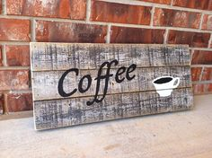 Rustic Wood Coffee Sign by dizknee. #coffee #rustic #sign