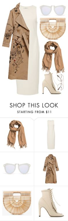 """""""White + Beige"""" by cherieaustin ❤ liked on Polyvore featuring H&M, Karen Walker, Burberry, Cult Gaia, Sergio Rossi and Prada"""