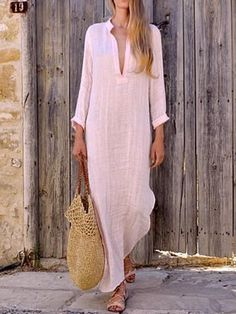 20595dca7d12 Shop Solid Long Sleeve Plunge Slit Side Maxi Dress – Discover sexy women  fashion at Boutiquefeel