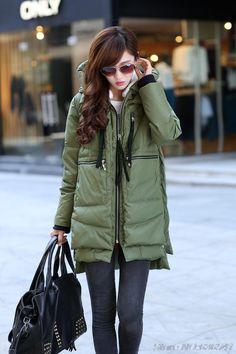 New Winter Long 100% Down European And American Women Jacket Coat Wholesale Green Black Free Shipping $61.68