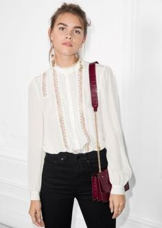 & Other Stories | Lace Panel Blouse Medium