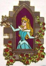 RARE VHTF Disney Auctions Pin Aurora at Window Blue Dress Gown Sleeping Beauty