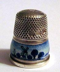 dé à coudre ARGENT MASSIF et EMAUX GUILLOCHE solid sterling silver thimble