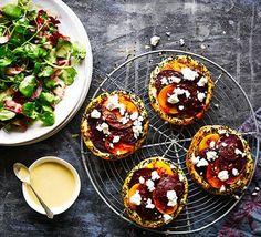 Spiced beetroot & feta tarts with tahini-dressed leaves Recipe Bbc Good Food Recipes, Vegetarian Recipes, Cooking Recipes, Delicious Recipes, Vegetarian Starters, Tahini, Feta, Food Photography, Spices