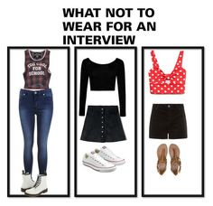 """What Not To Wear To An Interview"" by pstrats on Polyvore featuring Miss Selfridge, Abercrombie & Fitch, Boohoo, Forever 21, Filles à papa, Billabong, Converse, Dr. Martens and Dress4Success"