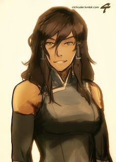 This is Korra the Avatar. I love the bold and natural hair. Plus her smile is so genuine. Her outfit is also neat. I love Korra. -DC2