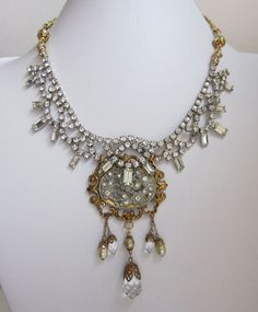 One of a Kind Vintage Rhinestone Statement Assemblage Necklace Mixed Metal by jryendesigns