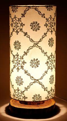 Chikankari Cylindrical Lamp - Green Lattice