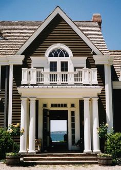 Beautiful entry and what a view!!! Porches, Barbie Dream House, House Goals, My Dream Home, Dream Homes, Coastal Living, Architecture Details, Exterior Design, Colonial Exterior