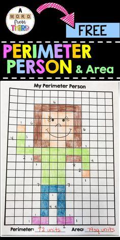This is a freebie to help your students create a perimeter person! Fourth Grade Math, 3rd Grade Classroom, Second Grade Math, Math Classroom, Grade 3, Math Teacher, Teaching Math, Math Measurement, Math Fractions