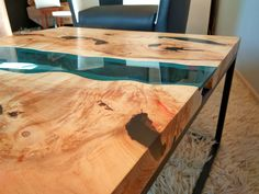 SOLD Live edge river coffee table with dark blue by KameleonCraft