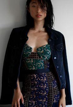 Margaret Zhang Self-Portrait Blue Paneled Dress waysify