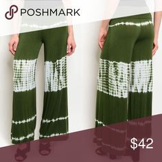 🆕Super Comfy Wide Leg Tie Dye Olive Palazzo Pants These comfortable pants are so soft! They run just a little small, but are stretchy. If you're between sizes, size up. Paperback Boutique Pants Wide Leg