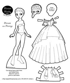 marisole-flamingo-masquerade-paper-doll-dress-bw.png (1071×1275)