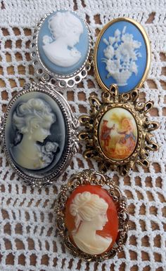 Vintage Cameo Brooch lot - Seeing this almost teared me up.. My great-Grandma collected, displayed, & wore many Cameos like these. <3