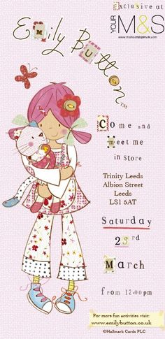 Exciting news, Emily Button is appearing at Marks and Spencer in the new Trinity Shopping Centre in Leeds this saturday. Meet her from onwards. Love Is Gone, Exciting News, Shopping Center, Leeds, Centre, Events, Button, Friends, Anime