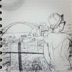There she is! #sydney #australia #pottspoint #skyline #sydneyharbourbridge #thisismyjot #drawing #sketch by kategalea http://ift.tt/1NRMbNv