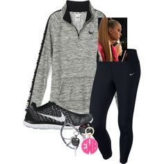 A fashion look from September 2015 featuring NIKE leggings, NIKE athletic shoes and Moon and Lola. Browse and shop related looks. Sporty Outfits, Fall Fashion Outfits, Fall Fashion Trends, Autumn Fashion, Summer Outfits, Cute Outfits, Cute Sweatpants Outfit, Comfortable Outfits, Moon