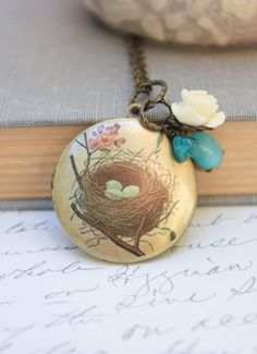 Birds Nest Locket Necklace  Cream Rose Charm by apocketofposies, $34.00