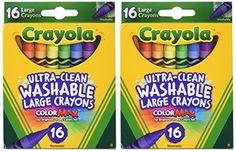 Kids' Crayons - Crayola Large Washable Crayons 16 Pack  2 Packs -- Visit the image link more details.