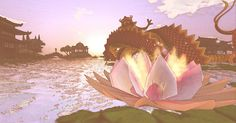Lotus Valley 2 Spirit World, Bonsai, Mystic, Lotus, Waterfall, Fantasy, Explore, Painting, Art