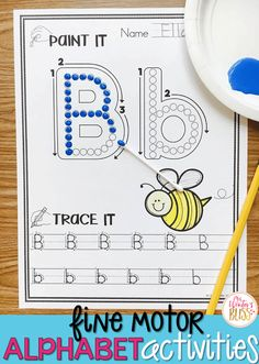 Art therapy activities preschool Fine motor alphabet activities are a fun learning center for preschool and kindergarten kids. Get free printables to use with your children today! Preschool Literacy, Kindergarten Writing, Kindergarten Activities, Preschool Alphabet Activities, Alphabet Games, Tracing Practice Preschool, Alphabet Crafts, Preschool Letters, Alphabet Letters