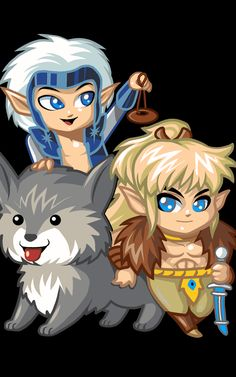 Adorable animated #Elfquest chibi of Cutter, Skywise and Nightrunner. Learn more at www.elfquest.com.