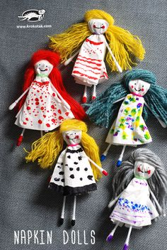 Quick and cute napkin dolls Doll Crafts, Baby Crafts, Fun Crafts, Arts And Crafts, Paper Crafts, Projects For Kids, Diy For Kids, Crafts For Kids, Craft Projects