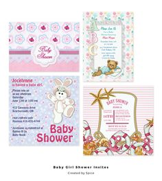 Adorable baby girl shower invitations ready to customize. Storks,teddy bears, umbrellas and more.