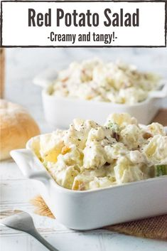 This Creamy Red Potato Salad recipe is sure to be a hit at your next picnic or potluck. Tender red potatoes are bathed in a tangy dressing and mixed with the satisfying crunch of freshly diced celery and onions. #salad #potato #picnic