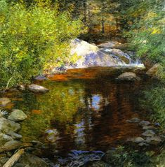 """The Pool,"" Willard Leroy Metcalf, 1904, oil on canvas, 36 x 36"", Crystal Bridges Art Museum."