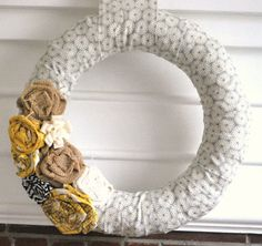 Fabric Wrapped Wreath Yellow and grey by YellowAttic on Etsy, $30.00
