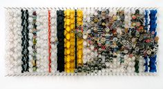 'superliner' by NY-based artist Jacob Hashimoto (b.1973). paper, bamboo, acrylic, dacron, 65 x 155 x 8 in. via Design Boom