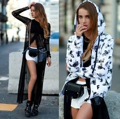 Juliett Kuczynska - Miguel - Adorn / maffashion - lookbook  Crazybprint sleeveless hoodie with leopard hoodie below