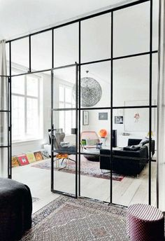 133 Amazing Modern Glass Wall Interior Design Ideas - Page 60 of 135 Contemporary Interior Doors, Modern Interior, Modern Decor, Cheap Wall Decor, Cheap Home Decor, Condo Living Room, Rustic Home Interiors, Luxury Homes Interior, Modern Glass